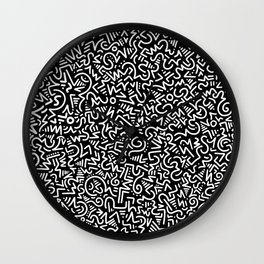 Black and White Line Art Wall Clock