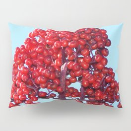 Rowan Berry Branch Top is Red on  Blue Nature Pillow Sham
