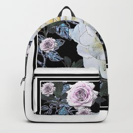 ANTIQUE BLACK & WHITE ROSES BLACK DRAWING Backpack