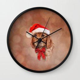 Drawing dog  English Cocker Spaniel in red hat of Santa Claus Wall Clock