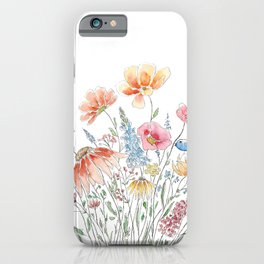 wild flower bouquet and blue bird- ink and watercolor 2 iPhone Case