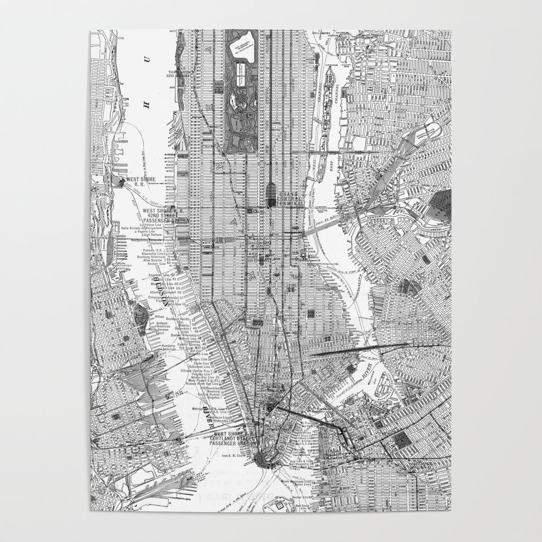 Vintage Map Of New York City Vintage Map of New York City (1918) BW Poster by bravuramedia