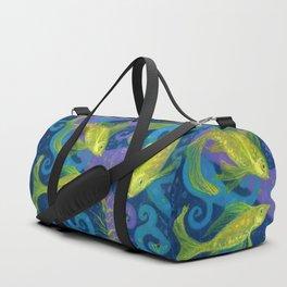 Golden Fish, Blue Violet Yellow, Underwater Duffle Bag