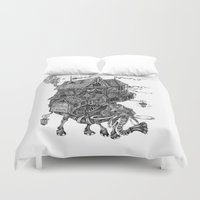 library Duvet Covers featuring the wandering library 2 by vasodelirium