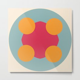 Colorful Classic Abstract Minimal Retro 70s Style Graphic Design Art Metal Print