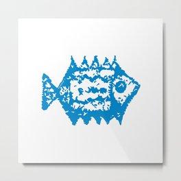 Fish blue pattern Metal Print