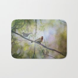 Finches In Springtime Bath Mat