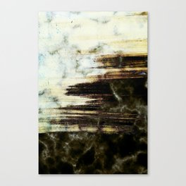 Brushed marble - black and golden Canvas Print