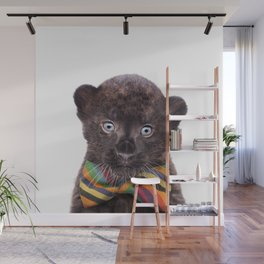 Baby Panther With Bow Tie, Baby Animals Art Print By Synplus Wall Mural