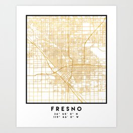 FRESNO CALIFORNIA CITY STREET MAP ART Art Print