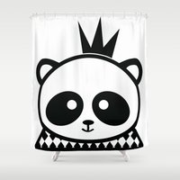 prince Shower Curtains featuring Panda Prince by Inkroyable