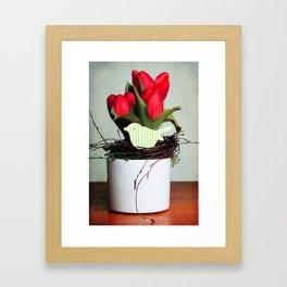 three tulips and a wooden bird Framed Art Print