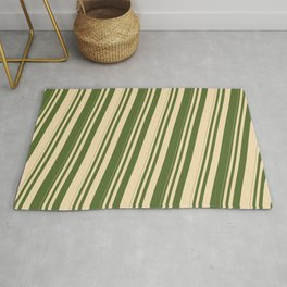 Tan and Dark Olive Green Colored Stripes/Lines Pattern Rug