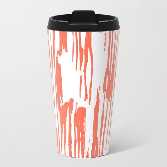 Bamboo Stripes White on Deep Coral Metal Travel Mug