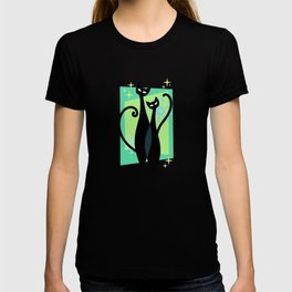 Sassy Sparkling Atomic Age Black Kitschy Cats T-shirt