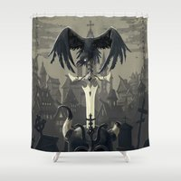 diablo Shower Curtains featuring Dark Times by Freeminds