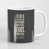 oscar wilde Mugs featuring Lab No. 4 - Oscar Wilde Motivational inspirational typography print Poster by Lab No. 4