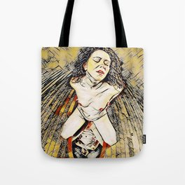 6151s-KD Red Lips in Mirror Erotic Art in the style of Wassily Kandinsky Tote Bag