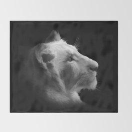 Wild White Lion Portrait Throw Blanket