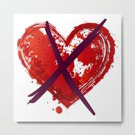 Anti Valentine's Day - Crossed Heart Metal Print