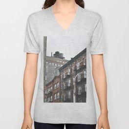 New York City corners, fire escapes, ladders fine art , nyc, America, photo Unisex V-Neck