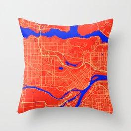 Burnaby - Canada Retro City Map Throw Pillow
