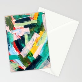 Livin' Easy - a bright abstract piece in blues, greens, yellow and red Stationery Cards