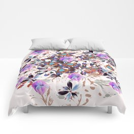 Beautiful watercolor flowers. Blue morning filed Comforters