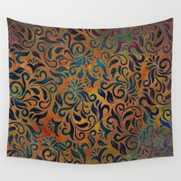 antique Wall Tapestries featuring ANTIQUE PATTERN by Klara Acel