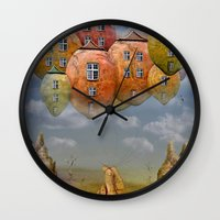 home sweet home Wall Clocks featuring Sweet Home by teddynash