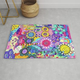 Double Sunflower Abstract Rug