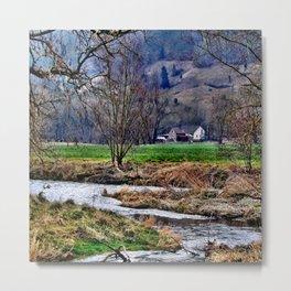 Winter am Fluss Metal Print