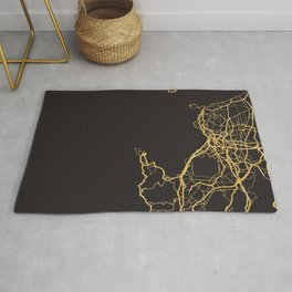 NAPLES ITALY GOLD ON BLACK CITY MAP Rug