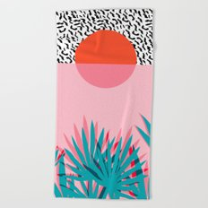 Whoa - palm sunrise southwest california palm beach sun city los angeles retro palm springs resort  Beach Towel
