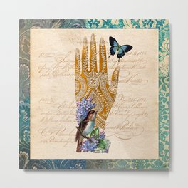Henna Series vol.1 Singing bird Metal Print