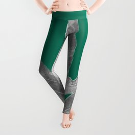 Christmas Fern, Holiday Green with Silver Winter Leaf Leggings