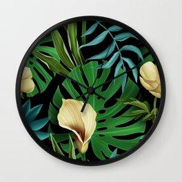 Tropical Jungle Plants Wall Clock