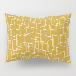 Old Gold and Cream Retro Geometric Shapes Pattern Pillow Sham