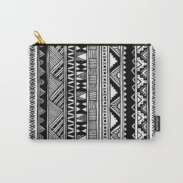 Black White Cute Girly Urban Tribal Aztec Andes Abstract Geometric Hand-drawn Pattern Carry-All Pouch