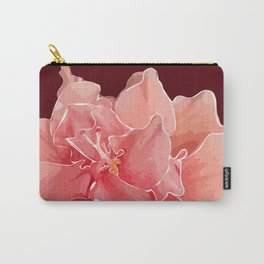 Double Hibiscus in Chocolate Carry-All Pouch