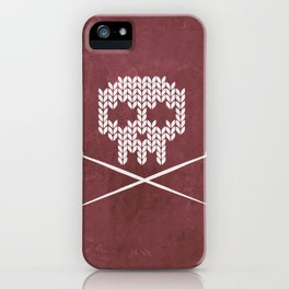 Knitted Skull (White on Red) iPhone Case