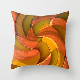 YELLOW AND ORANGE RETRO SPIRAL Throw Pillow