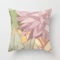 succulents Throw Pillows featuring Succulents by Julia Walters Illustration