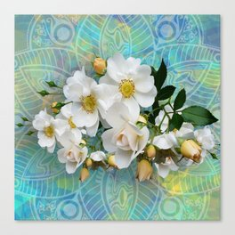 White Blooms and Yellow Roses Canvas Print