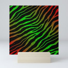 Ripped SpaceTime Stripes - Red/Green Mini Art Print