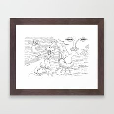 play in oceans of happiness Framed Art Print