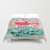 yetiland Duvet Covers featuring Flamingos by Andrea Lauren  by Andrea Lauren Design