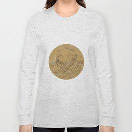 Siren On Island Waving Calling Tall Ship Circle Drawing Long Sleeve T-shirt