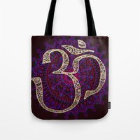 om Tote Bags featuring Om by Annelie Solis
