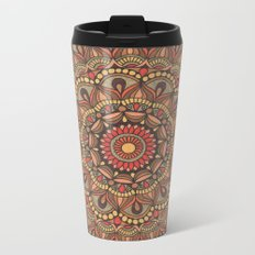 Rich Brown Arabian Pattern Metal Travel Mug
